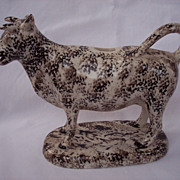 Bennington Black & White Spatterware/Spongeware Art Pottery Cow Creamer