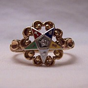 Vintage 10K Eastern Star Enamel & Diamond Ring