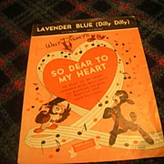 "Vintage HFT Early Walt Disney ""Lavender Blue (Dilly Dally)- So Dear To My Heart"" She"