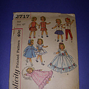 "Simplicity Vintage Shirley Temple Doll Pattern #2717 for 12"" Dolls"