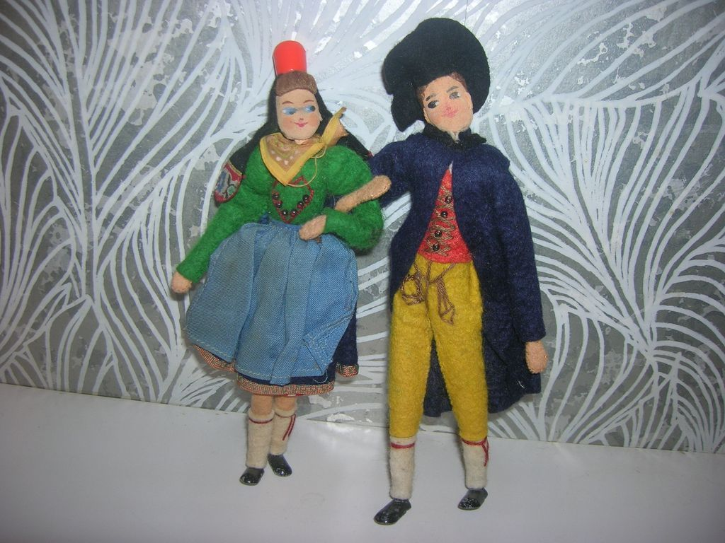 Vintage German BAPS Pair of Ethic Dolls