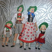 Vintage German BAPS Family of 4 Ethic Dolls