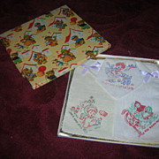 Vintage Boxed Nursery Rhyme Child's Hankies Set of 3 MIB