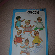 "Simplicity Pattern #9508 for Baby & Toddler 12""-13"" Dolls."