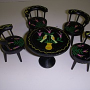Vintage Black Lacquered  Hand Painted Miniature Table and Chairs Set!