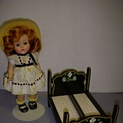 Rare Vintage Black Lacquered Wood Doll Bundling Bed!