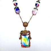 SOLD Art Deco Czech Rainbow Iris Glass Necklace & Gilt Brass Paper Clip Chain
