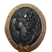 SOLD Edwardian Black Left Face Cameo Brooch in Gold Filled Frame