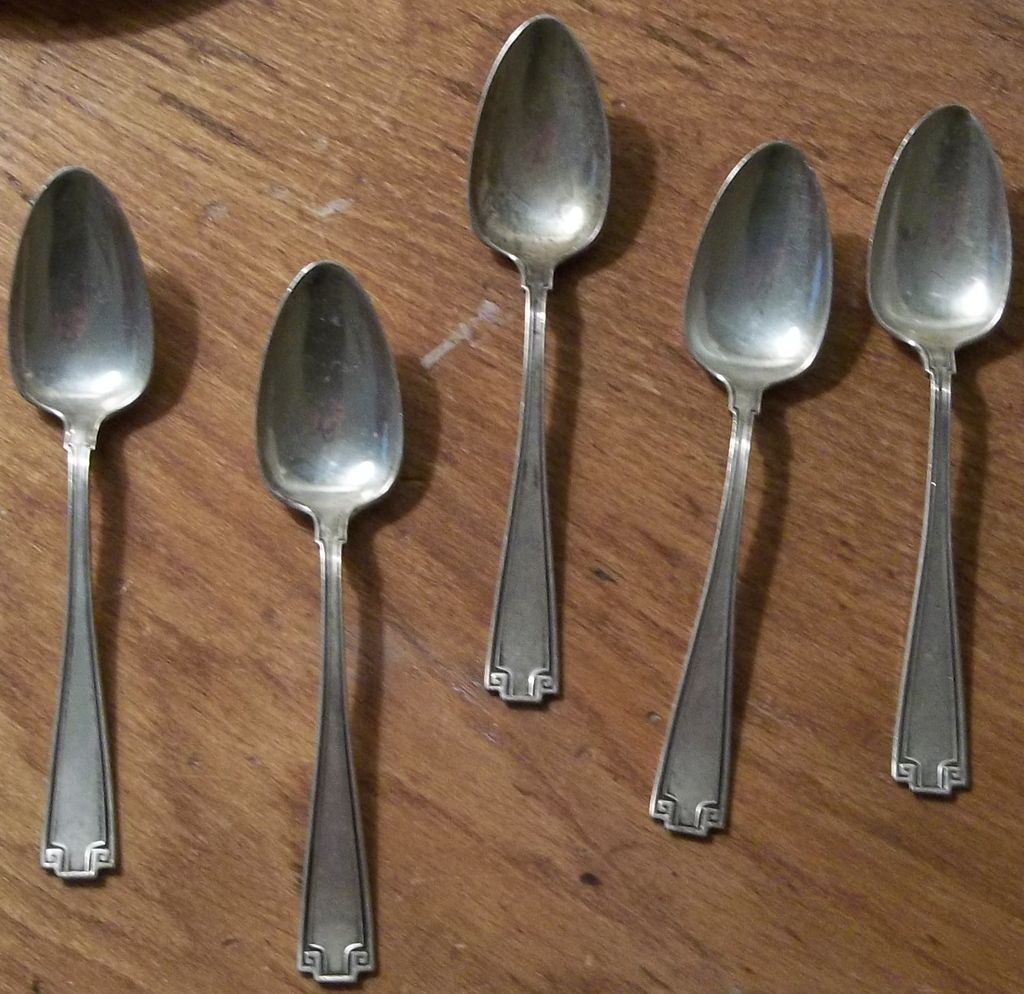 Set of Five Antique Sterling Demitasse Spoons Etruscan Pattern - 1920's