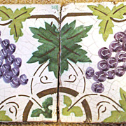 Art nouveau architectural ornamental tiles - grapes and leaves