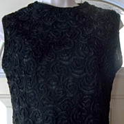 Vintage 50's Designer Black Fitted Top with Ornate Ribbon Work