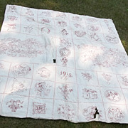 "Antique ""Slumber and Dream"" Penny Square  Embroidered Quilt Top - 1912"