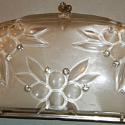 Vintage Ivory Carved Lucite and Rhinestone Clamshell Clutch