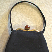 "Black Felt ""Teardrop"" Purse with Lucite Cabochon Closure - 30-40's Era"
