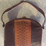 Vintage 20's Art Deco Tri-Tone Snakeskin Box Purse