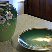 Beautiful Enamel and Gold Porcelain Bowl and Vase - Wallendorf Germany