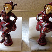 Deco Era Dancing Girl Pot Metal Bookends