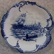 Beautiful Flow Blue Royal Bonn Germany Sailing Ships Plate/Bowl