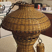 Vintage Natural Wicker Hanging/Swag Lamp