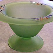 Vintage Art Deco Handpainted Frosted Green Depression Glass Compote