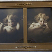"Vintage ""Cupid Awake and Asleep"" Framed Prints in One Divided Frame"