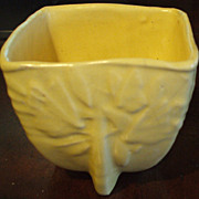 McCoy 'Butterflies' Square Jardiniere in Soft Yellow Glaze