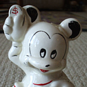 Vintage Mickey Mouse Bank - American Bisque -- Leeds Co.