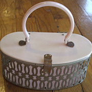 1950s Pink Plastic Box Purse - Pierced Silver-Tone Metal Body