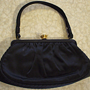 Vintage L & M Handbag by Edwards  Black Gabardine - 40's