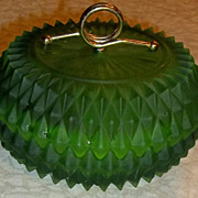 "Deco-Styled Frosted Green Glass ""Porcupine"" Powder/Dresser Jar"