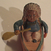 Vintage Blow-Molded Celluloid Indian in Canoe Figure