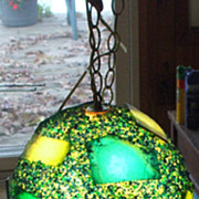 1960's Confetti Plastic Orb Lamp in Blues, Greens and Yellow
