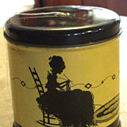 Deco Silhouette Lady and Kitten String Holder