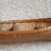 Vintage Miniature Hand-Made Birch Bark Canoe