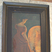 "Stunning Antique Framed Print ""Lady at a Mirror"" - 1908"
