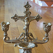 Vintage Cast/Gilt Altar Crucifix - Candleholder & Holy Water Font