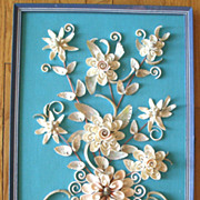 Vintage Beautifully Detailed Floral Shell Art Picture