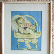 Vintage Framed Smiling Baby in Highchair Litho Signed by Charlotte Becker