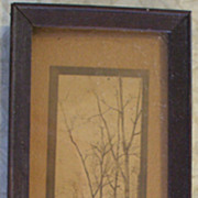 Vintage Sepia tone woodland nature print in wooden frame