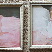 Pair Vintage Infant Baby Prints Colorful Framed