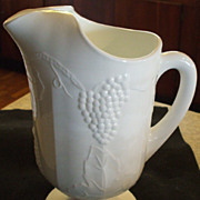 White Milk Glass Water Pitcher -- Lancaster Colony Grape Design
