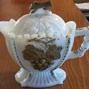 Victorian Milk Glass Gilded Creamer Hand Painted