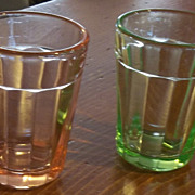 Vintage Set of Depression Glass Shot Glasses Pink and Green