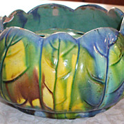 Colorful Striking Majolica Planter/Vase with Flower Frog
