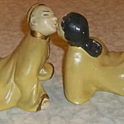 Vintage Oriental Kissing Couple Figurines - 1950's