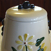 Tall Cookie Crock/Jar with Raised Daisies