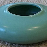 Arts and Crafts Styled Aqua Green Low Bulb Bowl