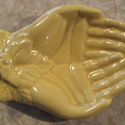 "Yellow Pottery ""Hands"" Pin Tray/Change/Business Card Holder"