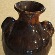 Brush Pottery Rockingham Swan-Handled Vase