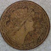 Beautiful Victorian Lady Pyrography Round Wall Plaque